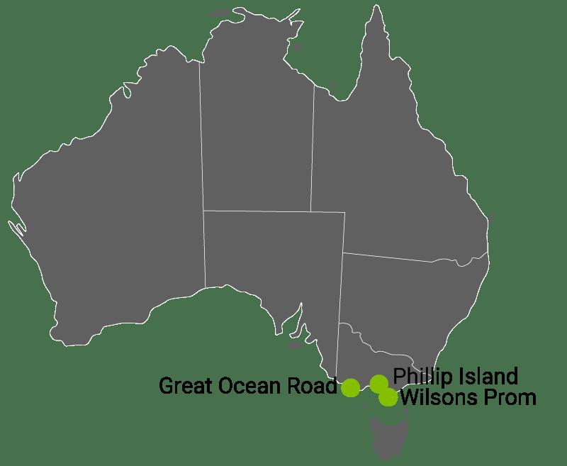 Great Ocean Road, Phillip Island, Wilsons Promontory.