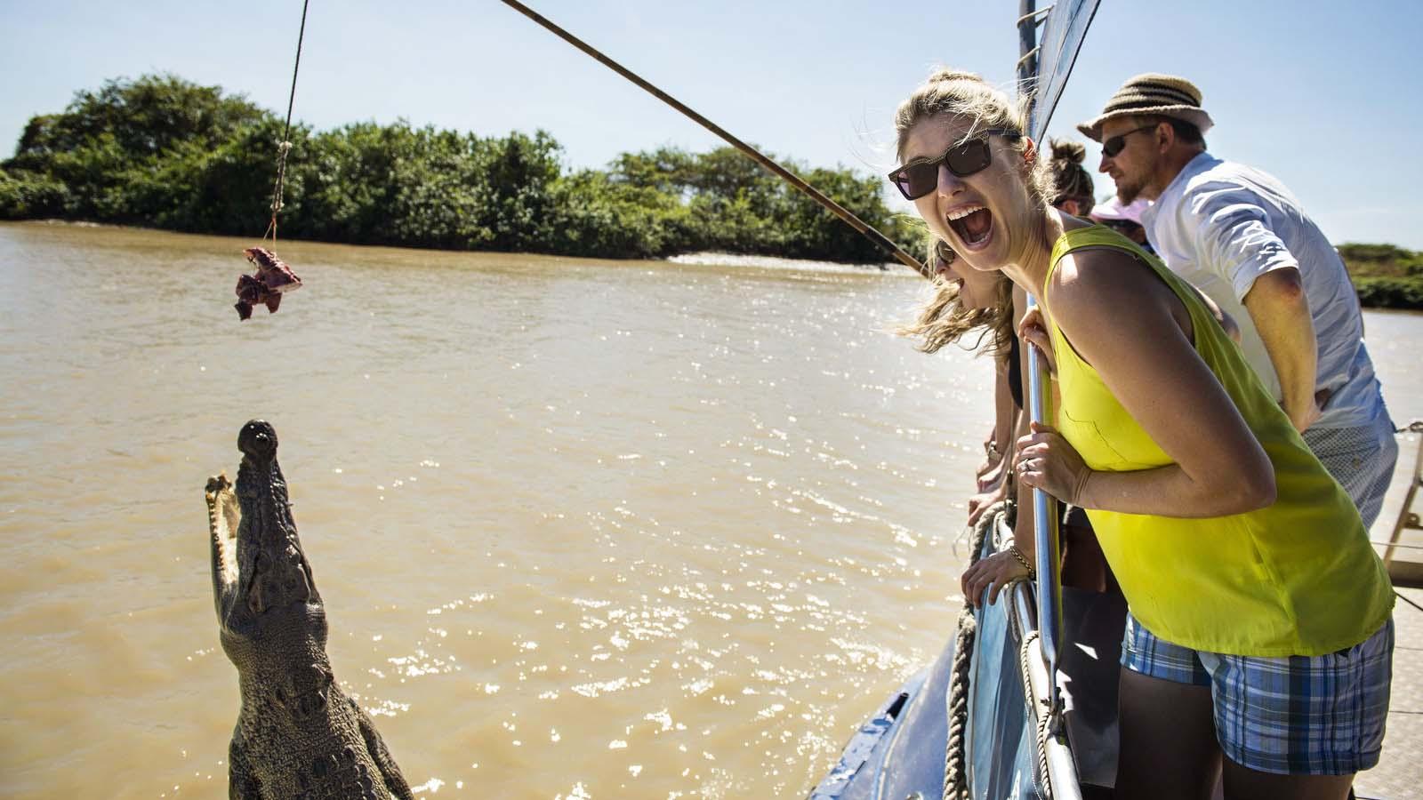 Jumping crocodile i Adelaide River.