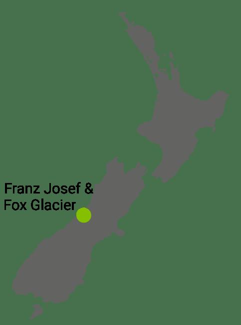 Kart Franz Josef og Fox Glacier